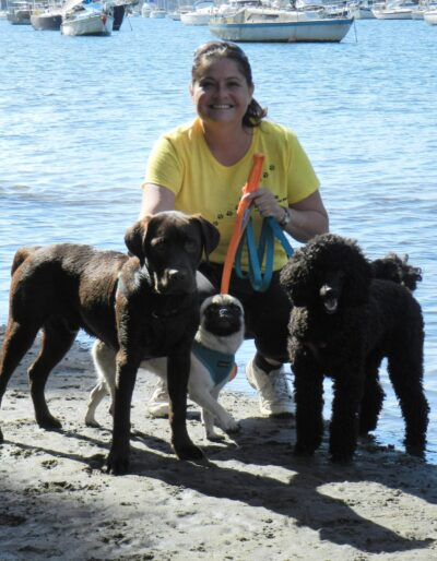 Me with dogs at beach